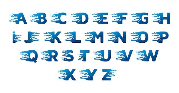 Desenho de alfabeto de água doce Vetor Premium
