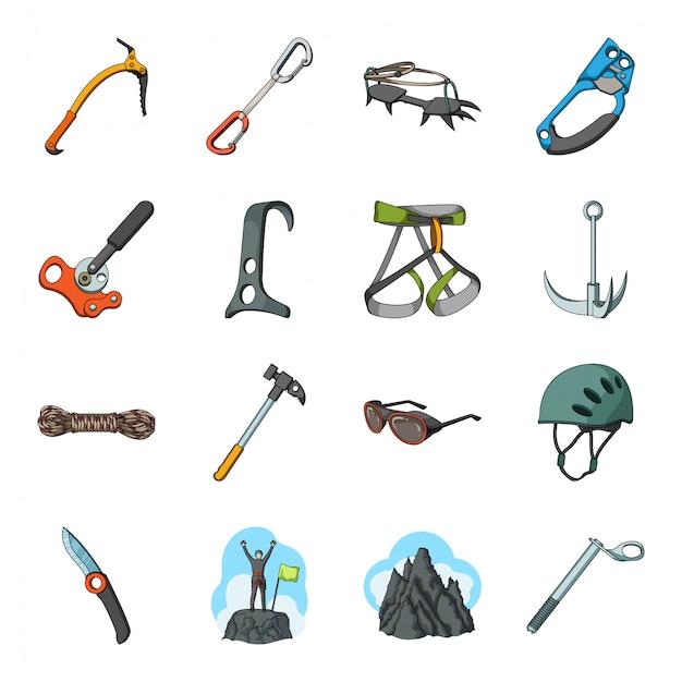 Desenho de alpinista e montanha definir ícone. aventura extrema. desenhos animados isolados definir ícone alpinista e montanha. Vetor Premium