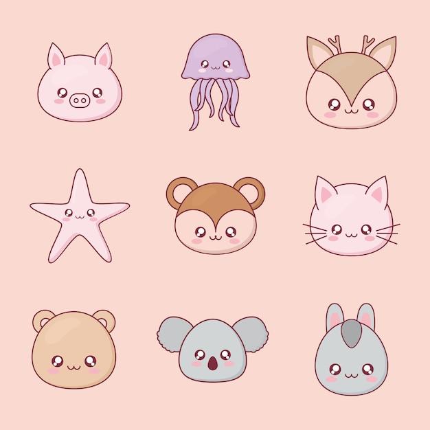 Desenho de animais kawaii com design de ícones, personagem bonito de expressão engraçado e tema emoticon Vetor Premium