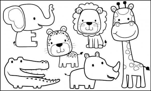 Desenho De Animais Para Colorir Livro Vetor Premium