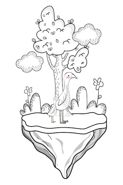 Desenho de animal selvagem de ganso Vetor Premium
