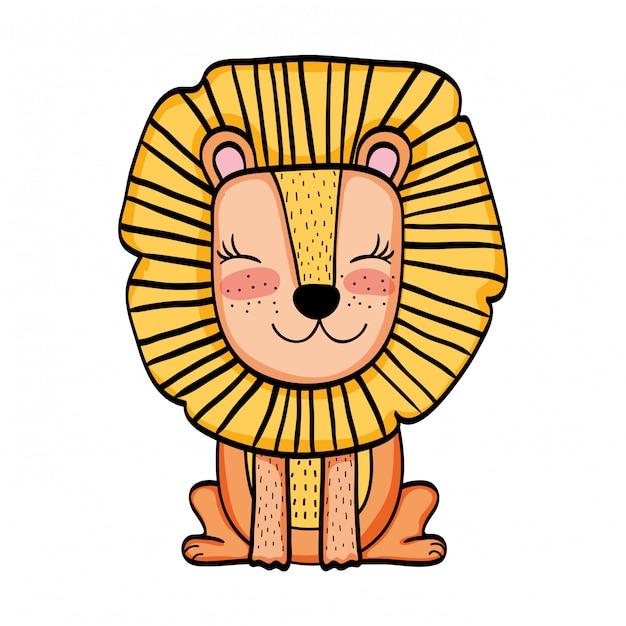 Desenho de animal selvagem de leão Vetor Premium