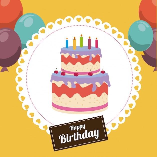 Desenho de aniversário sobre ilustração amarelo Vetor grátis
