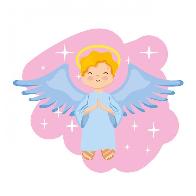 Desenho de anjo sagrado feliz. Vetor Premium