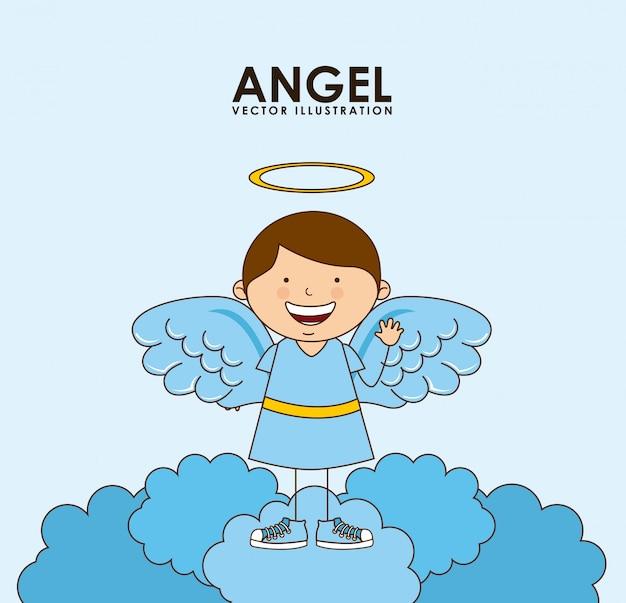 Desenho de anjo Vetor Premium