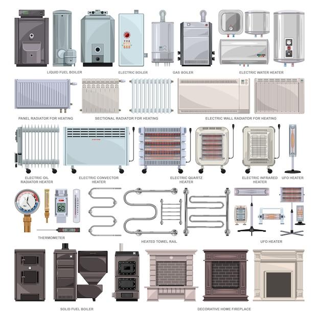 Desenho de aquecedor elétrico definir ícone. caldeira de ilustração em fundo branco. conjunto de desenhos animados aquecedor elétrico de ícone. Vetor Premium