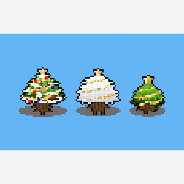 Desenho de árvore de natal de pixel art cartoon. Vetor Premium