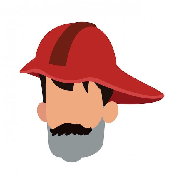 Desenho de avatar de bombeiro Vetor Premium