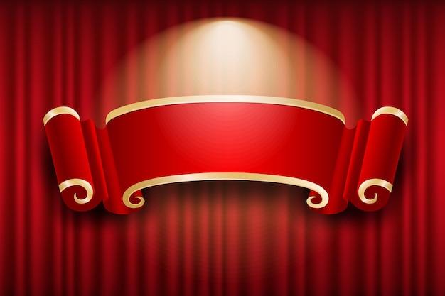 Desenho de bandeira chinesa na cortina vermelha iluminando o fundo, ilustração Vetor Premium