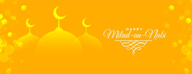 Desenho de banner amarelo brilhante milad un nabi Vetor grátis