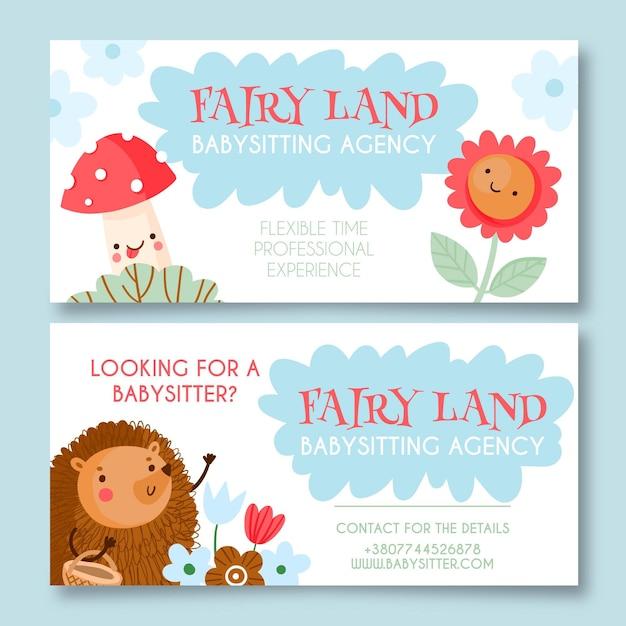 Desenho de banners para agências de babá desenhada à mão Vetor grátis