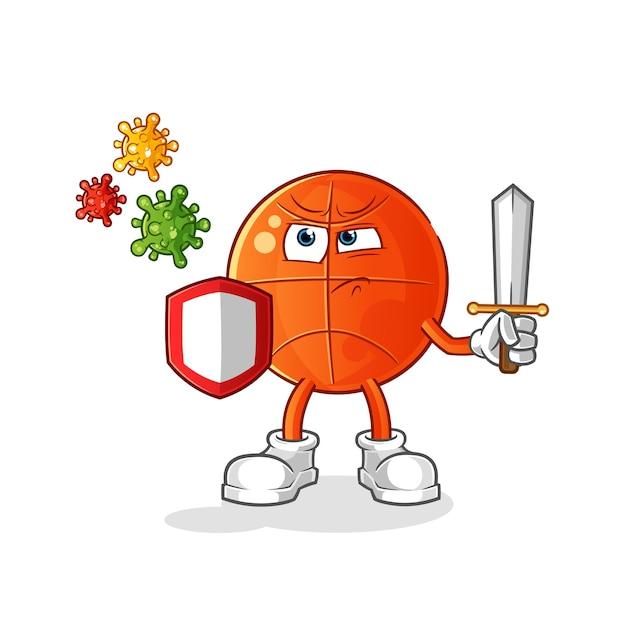 Desenho de basquete contra vírus. Vetor Premium