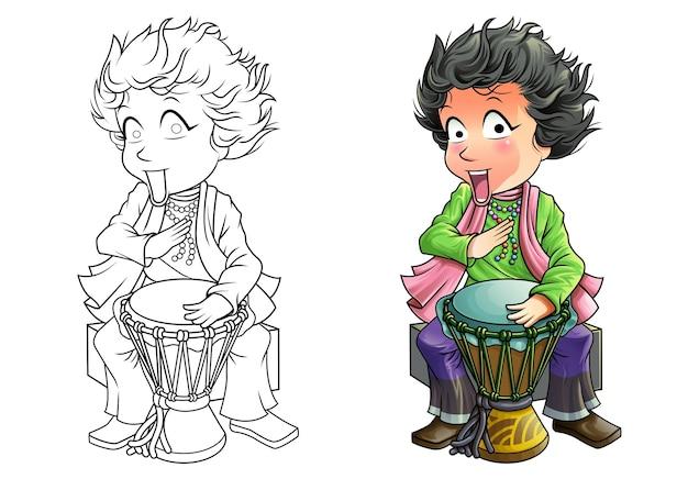 Desenho de baterista para colorir para crianças Vetor Premium
