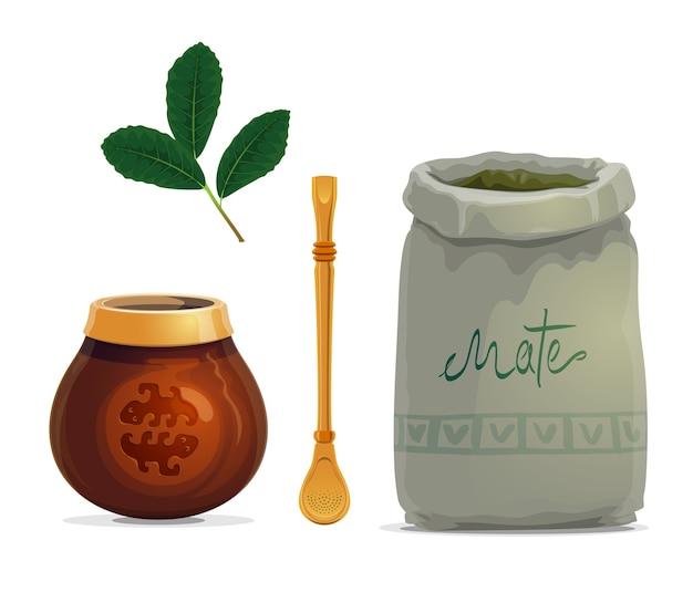 Desenho de bebida de chá mate de folhas de planta de erva-mate Vetor Premium