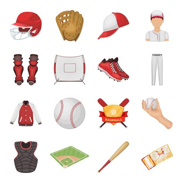 Desenho de beisebol definir ícone. desenhos animados isolados definir ícone esporte jogador. beisebol. Vetor Premium