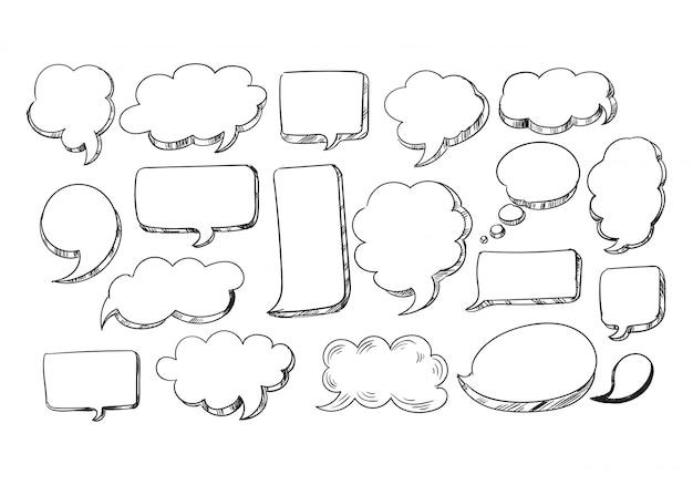 Desenho de bolha de discurso de esboço desenhado à mão Vetor grátis