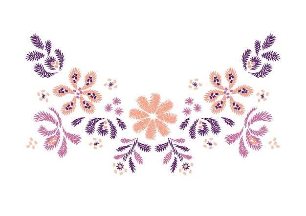 Desenho De Bordado De Flor Para Decote Vetor Premium