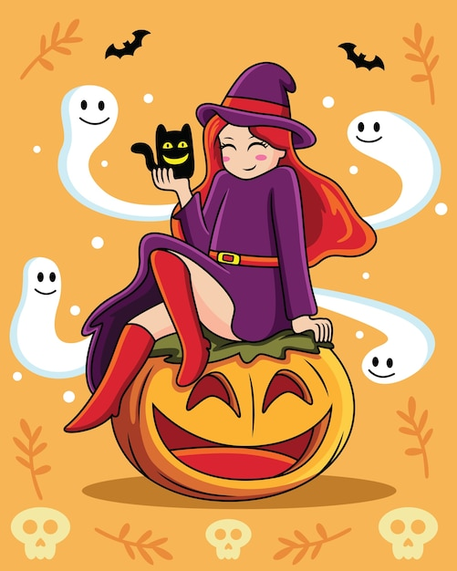 Desenho de bruxa com expressões fofas em fundo laranja Vetor Premium