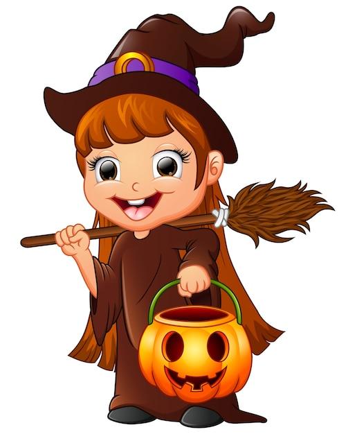 desenho de bruxinha pequena segurando a vassoura e abóbora baixar