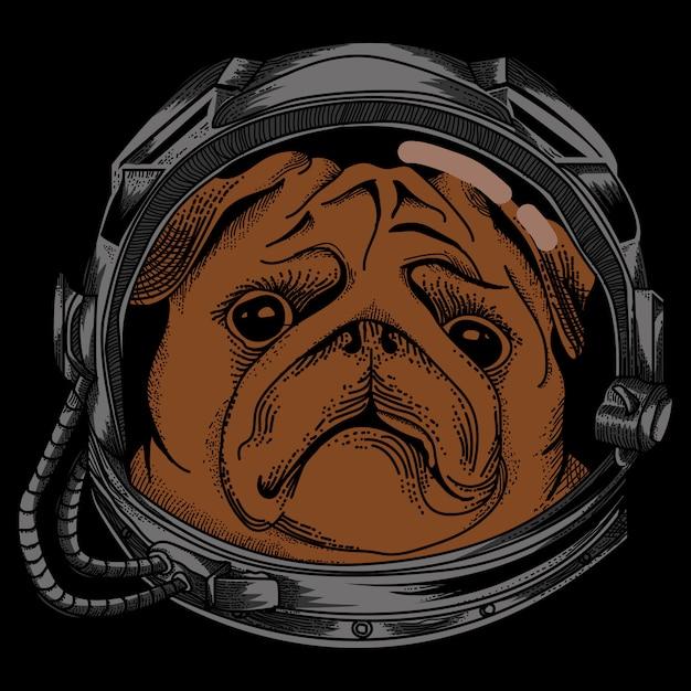 Desenho de cachorro astronauta com fundo preto Vetor Premium