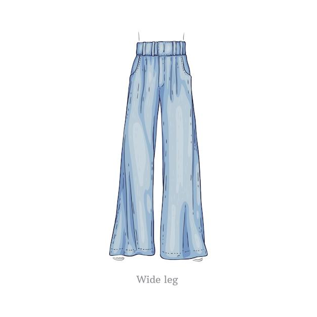 Desenho de calça jeans feminina Vetor Premium