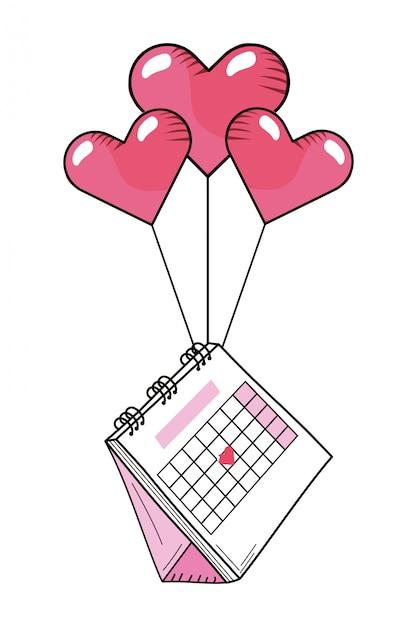Desenho De Calendario De Dia Dos Namorados Vetor Premium