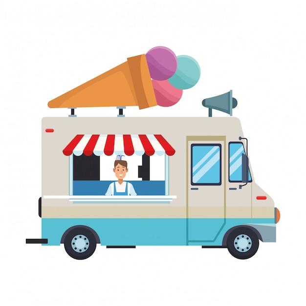 Desenho de caminhão de sorvete Vetor Premium