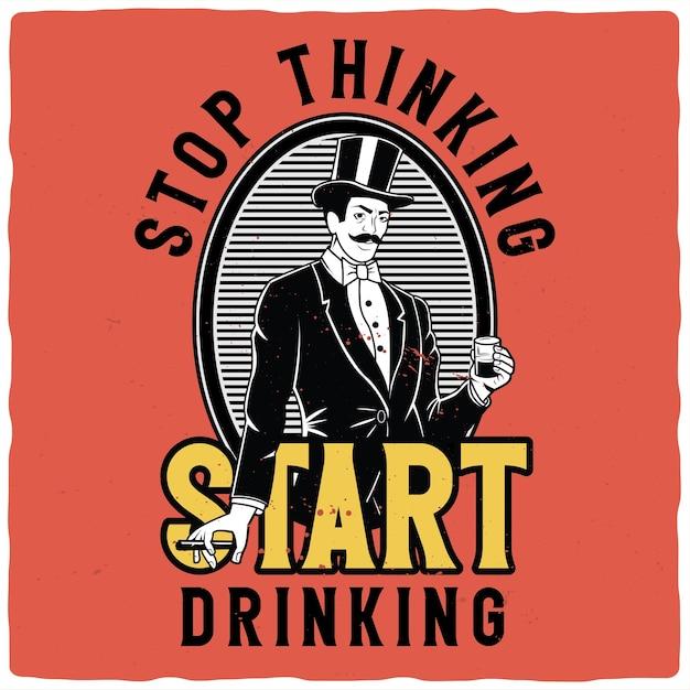 Desenho de camiseta ou pôster com ilustração de cavalheiros com copo de uísque e charuto Vetor Premium