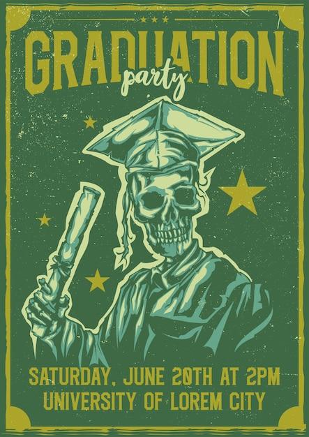 Desenho de camiseta ou pôster com ilustração de graduação de esqueleto Vetor grátis