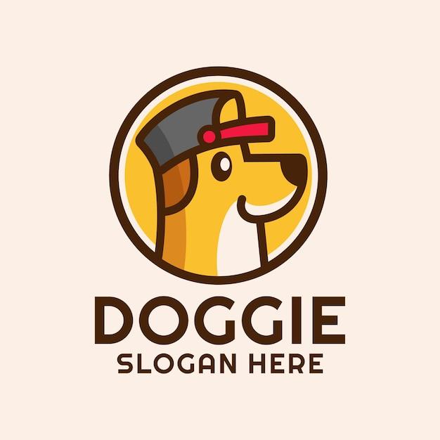 Desenho de cão com chapéu design de logotipo Vetor Premium