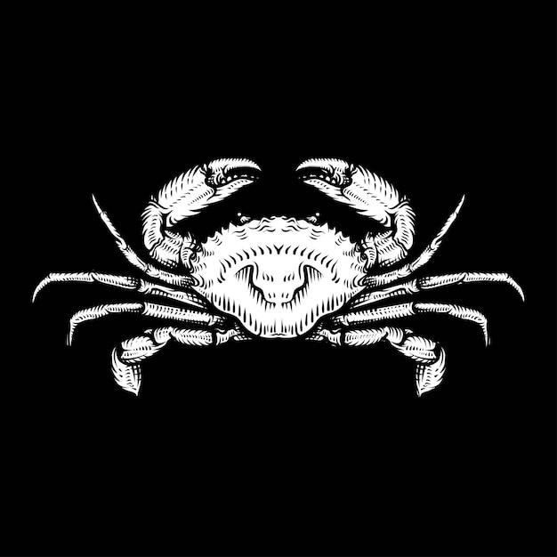Desenho de caranguejo vintage. ilustração de marisco monocromático de mão desenhada. Vetor Premium