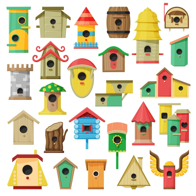 Desenho de casa de passarinho definir ícone. Vetor Premium