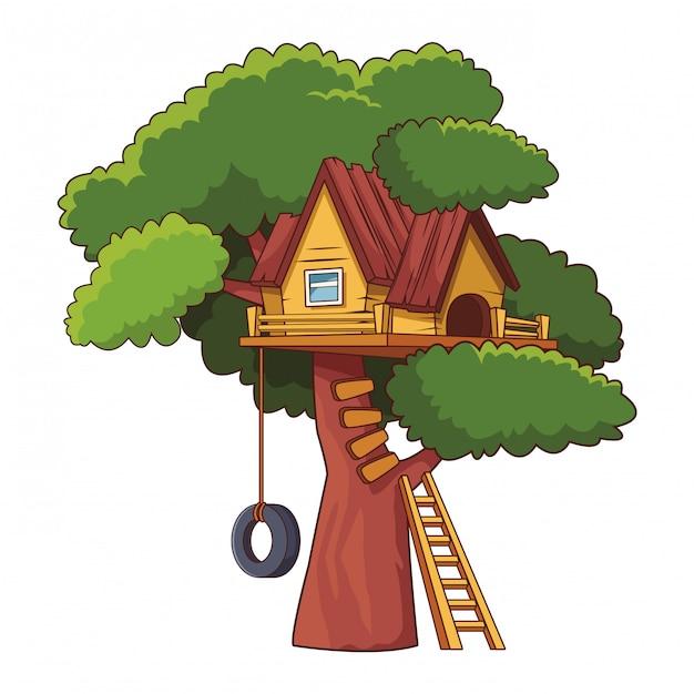 Desenho De Casa Na árvore Baixar Vetores Premium