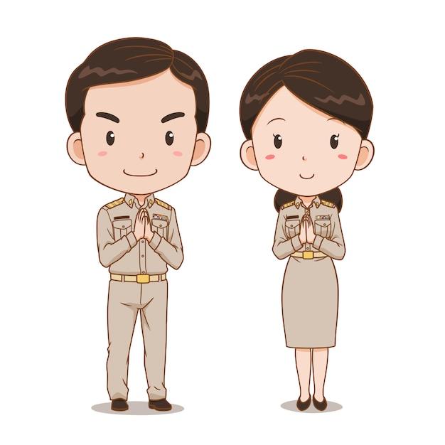 Desenho De Casal Fofo De Oficiais Do Governo Tailandes Vetor Premium