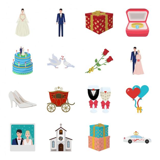 Desenho de casamento definir ícone. ilustração amor casamento. desenhos animados isolados definir ícone casamento. Vetor Premium