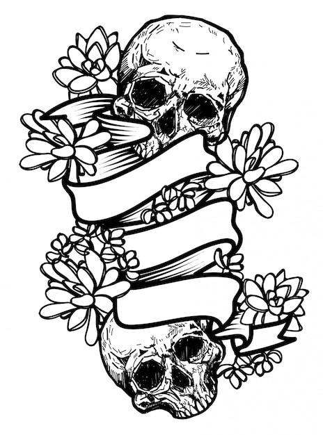 Desenho De Caveira E Flores Desenho De Mao Com Ilustracao De Arte