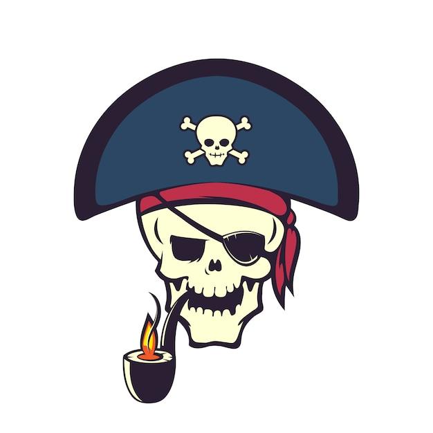 Desenho de caveira pirata Vetor Premium