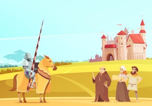 Desenho de cena de vida medieval Vetor grátis