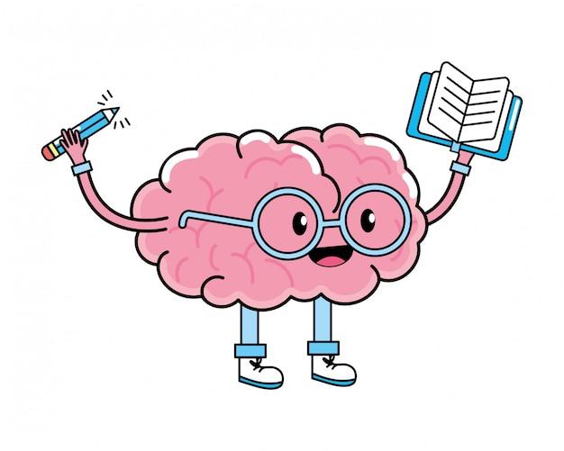 Desenho de cérebro bonito Vetor Premium