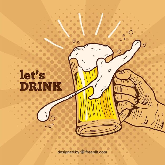 Desenho de cerveja desenhado à mão Vetor grátis