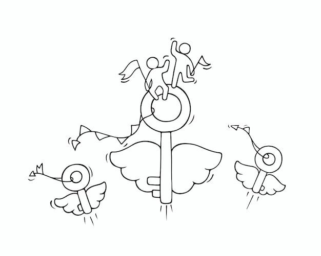Desenho de chaves voadoras com pequenos trabalhadores. doodle miniatura bonito sobre a ideia de negócio Vetor Premium