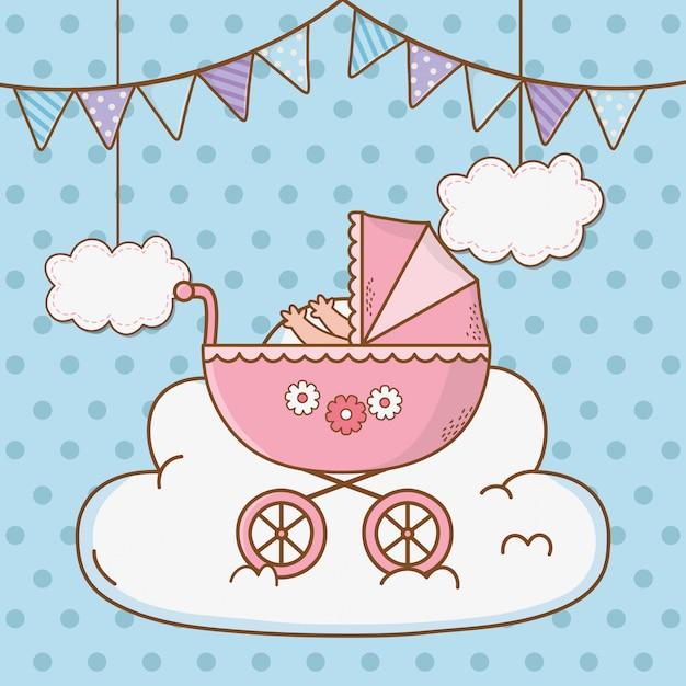 Desenho de chuveiro de bebê fofo Vetor Premium