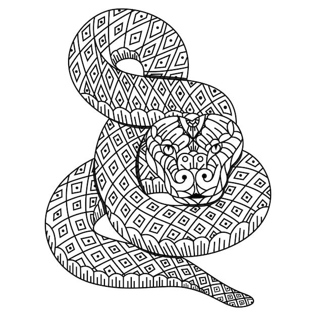 Desenho de cobra em estilo zentangle Vetor Premium