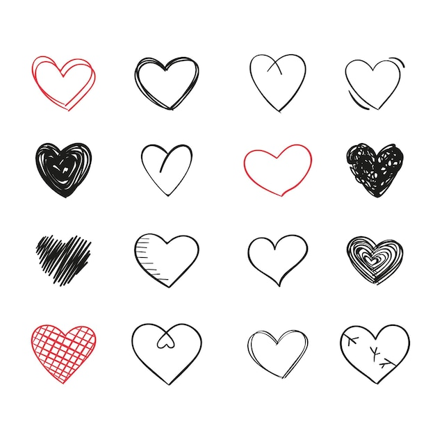 Desenho de coleção de coração Vetor Premium