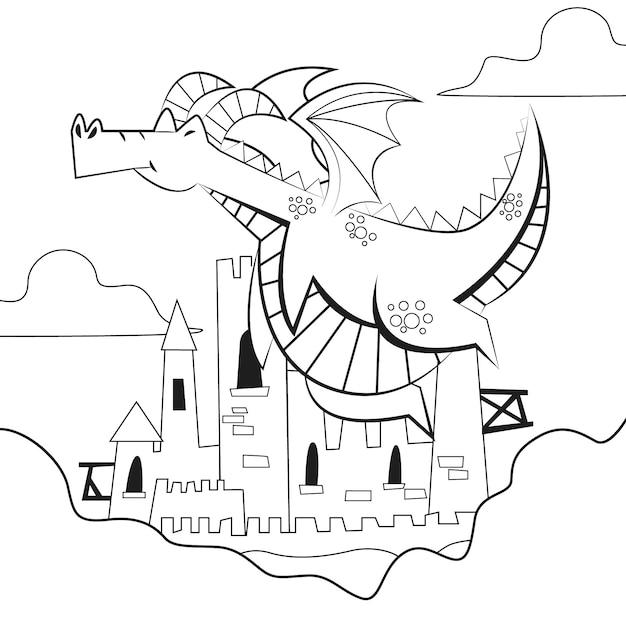 Desenho de colorir com dragão Vetor Premium