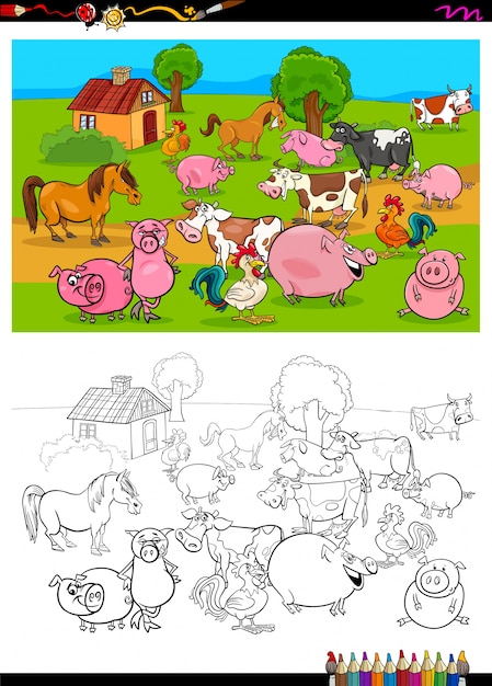 Desenho De Colorir Grupo De Caracteres De Animais De Fazenda