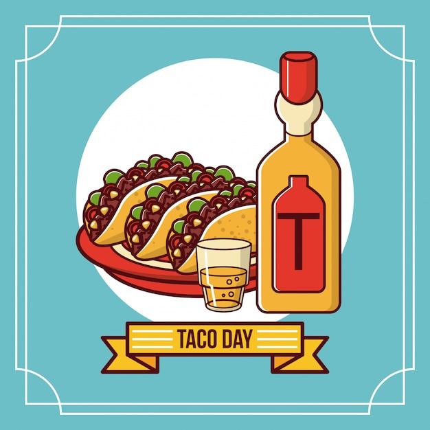 Desenho de comida mexicana de dia de taco Vetor Premium
