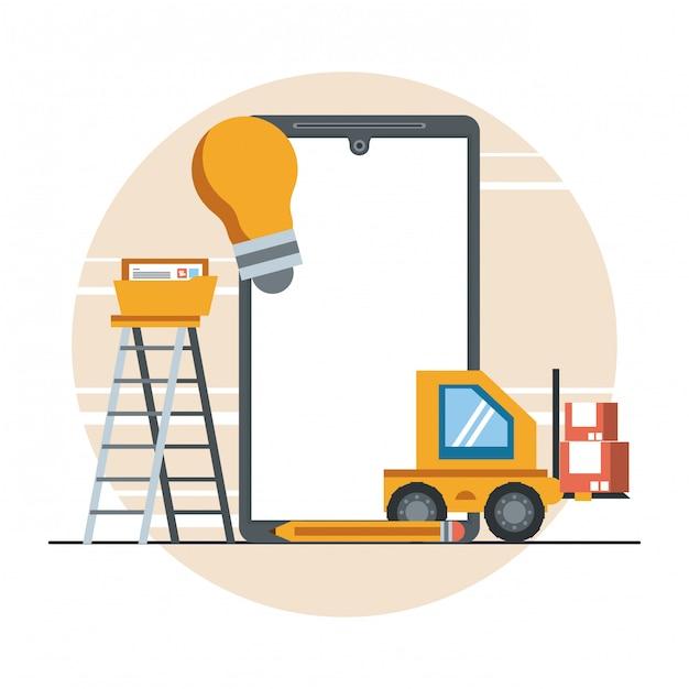 Desenho de conceito de suporte de manutenção de dispositivo de tecnologia Vetor grátis