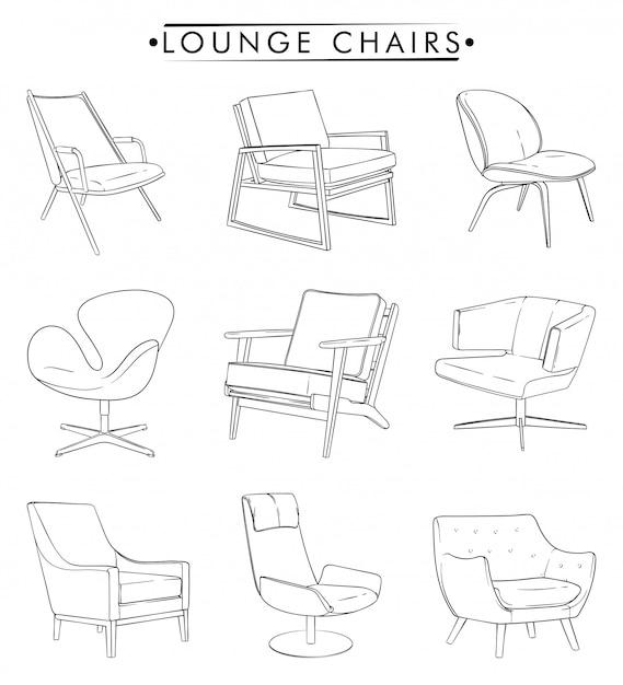 Desenho de contorno de cadeiras de salão Vetor Premium