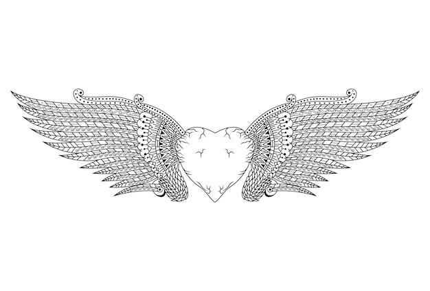 Desenho de coração com asas em estilo zentangle Vetor Premium